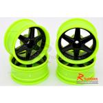 Комплект дисків коліс для шосейних автомоделей 1/10 (зелено-чорні)