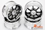 Комплект дисків коліс для шосейних автомоделей 1/10 (Срібно-чорні)