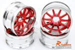Комплект дисків коліс для шосейних автомоделей 1/10 (червоні)